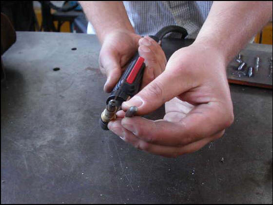MIG welding torch tip fused closed